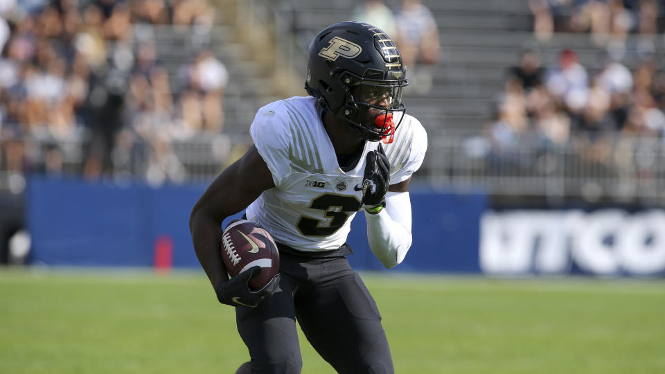 Purdue wide receiver David Bell (3) during the first half of an NCAA football game against Connecticut on Saturday, Sept. 11, 2021, in East Hartford, Conn. (AP Photo/Stew Milne)