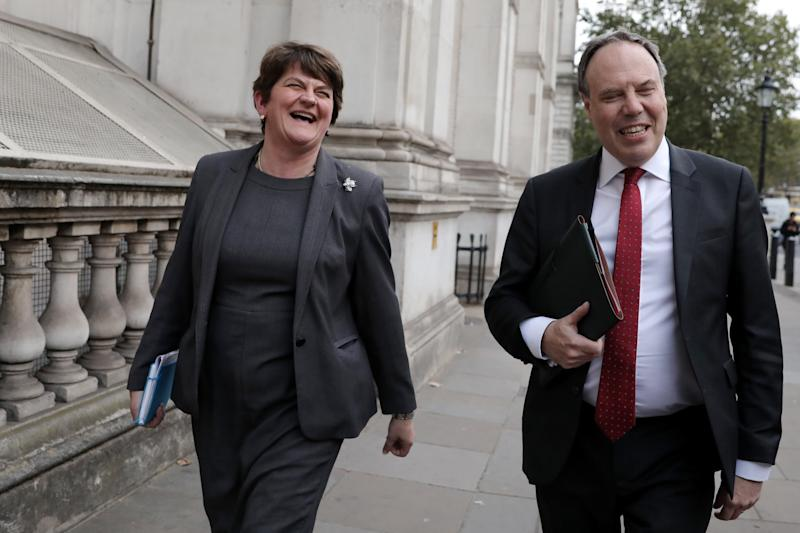 The DUP leader was all smiles as she left the meeting on Tuesday. (Getty Images)