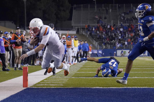 Boise State quarterback Hank Bachmeier (19) scores a touchdown against San Jose State during the second half of an NCAA college football game, in San Jose, Calif., Saturday, Nov. 2, 2019. (AP Photo/Tony Avelar)