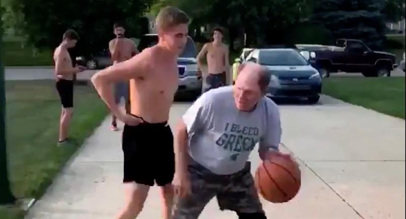 Viral video: Old man lights up kid on basketball court