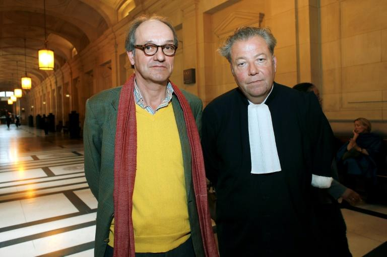 Peggy Guggenheim's grandson Sandro Rumney (seen with his lawyer Olivier Morice) at the initial trial in Paris in May 2015