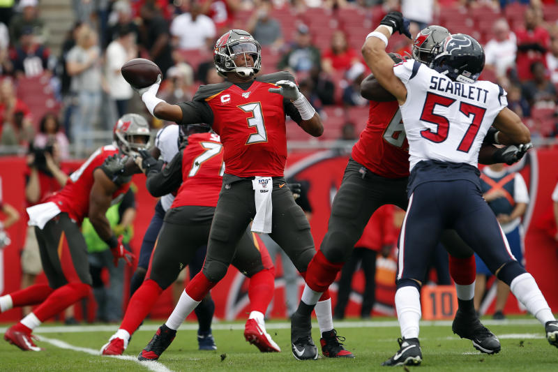 Tampa Bay Buccaneers quarterback Jameis Winston (3) throws a pass against the Houston Texans during the first half of an NFL football game Saturday, Dec. 21, 2019, in Tampa, Fla. (AP Photo/Mark LoMoglio)