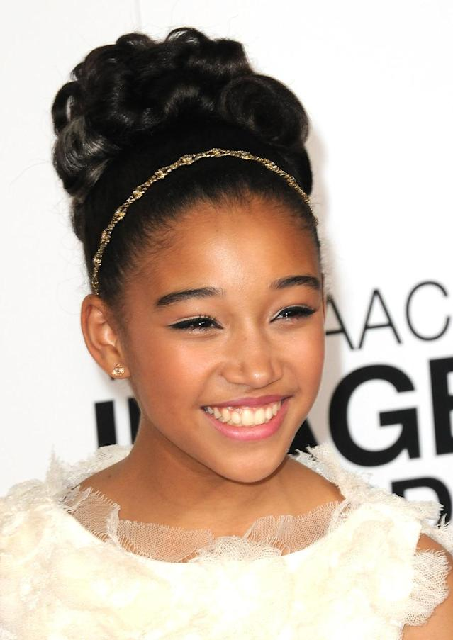 <p>Amandla Stenberg arrives for the 44th NAACP Image Awards held at the Shrine Auditorium on Feb. 1, 2013 in Los Angeles. (Photo: Albert L. Ortega/Getty Images) </p>