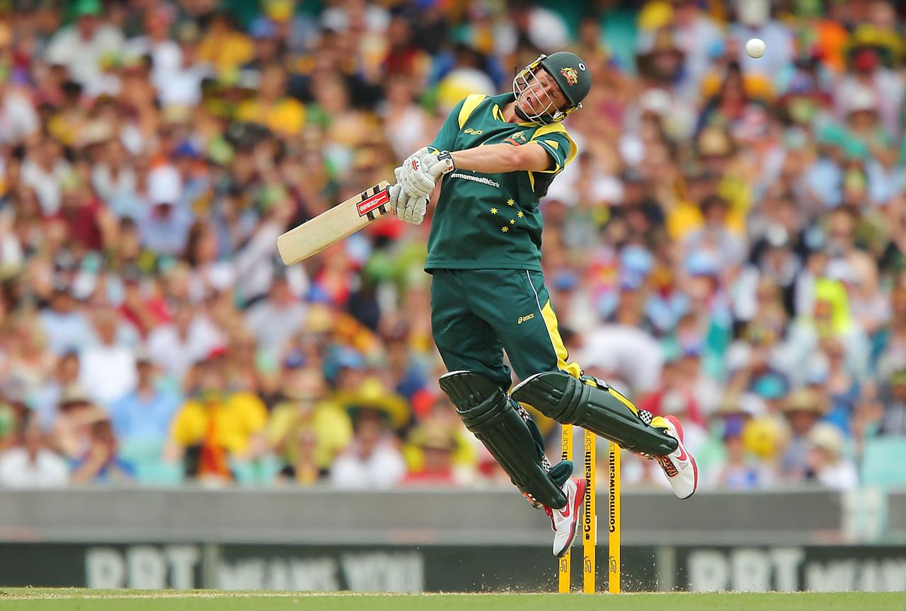 SYDNEY, AUSTRALIA - JANUARY 20:  David Hussey of Australia bats during game four of the Commonwealth Bank one day international series between Australia and Sri Lanka at Sydney Cricket Ground on January 20, 2013 in Sydney, Australia.  (Photo by Brendon Thorne/Getty Images)