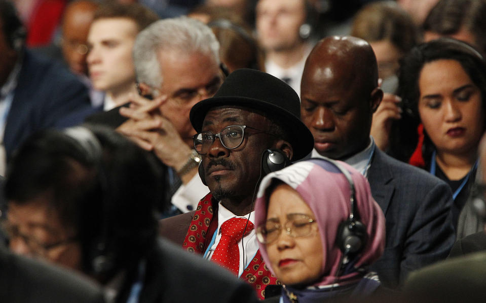 Leaders and negotiators from almost 200 nations from around the globe listen to speeches during the official opening of the key U.N. climate conference that is to agree on ways of fighting global warming in Katowice, Poland, Monday, Dec. 3, 2018. (AP Photo/Czarek Sokolowski)