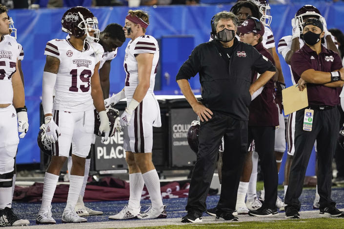 Mississippi State coach Mike Leach stands on the sideline during the second half of the team's NCAA college football game against Kentucky, Saturday, Oct. 10, 2020, in Lexington, Ky. (AP Photo/Bryan Woolston)
