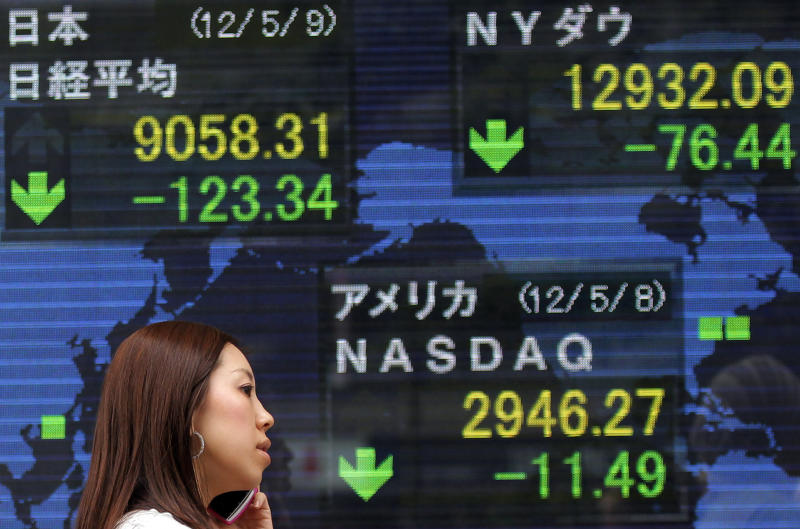 A woman talking on a mobile phone walks by the electronic stock board of a securities firm showing Japan's Nikkei 225 index, top left, dropped 123.34 points to 9,058.31 in Tokyo Wednesday, May 9, 2012. Asian stock markets fell Wednesday, spooked by disappointing U.S. corporate earnings and fears that political turmoil in debt-crippled Greece is pushing it closer to financial disaster. (AP Photo/Itsuo Inouye)