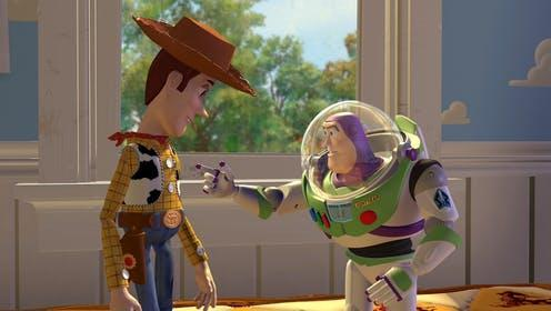 """<span class=""""caption"""">Old meets new as Woody and Buzz become friends in the original Toy Story (1995).</span> <span class=""""attribution""""><a class=""""link rapid-noclick-resp"""" href=""""https://www.youtube.com/watch?v=7PGZnOVdxzk&ab_channel=BestMovieClips"""" rel=""""nofollow noopener"""" target=""""_blank"""" data-ylk=""""slk:Pixar/Youtube"""">Pixar/Youtube</a></span>"""