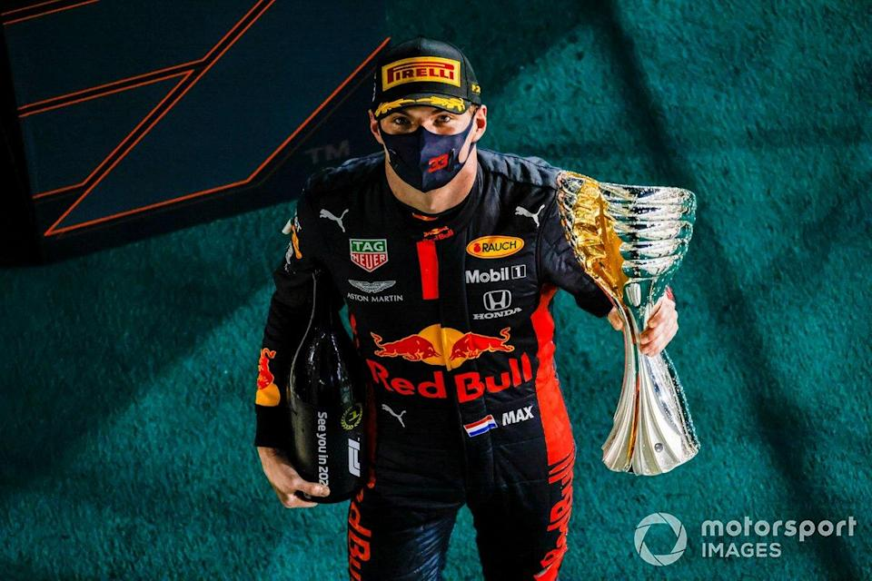 """Max Verstappen, Red Bull Racing, 1st position, with his trophy<span class=""""copyright"""">Glenn Dunbar / Motorsport Images</span>"""