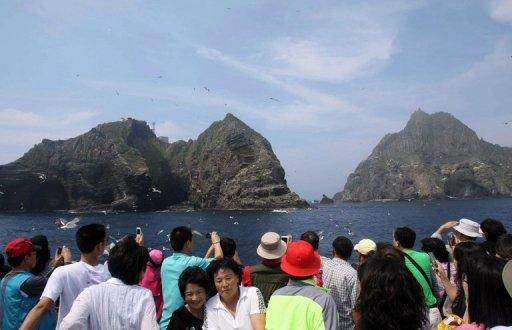 South Koreans tour the Korean-controlled islands known as Takeshima in Japan and Dokdo in South Korea