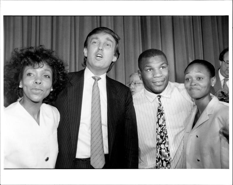 Ruth Roper, Donald Trump, Mike Tyson and Robin Givens on July 1988.