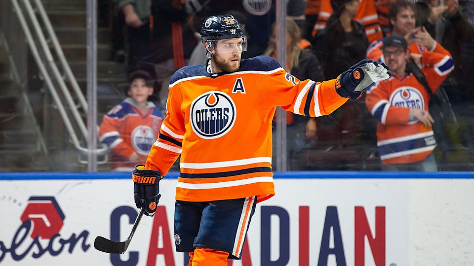 EDMONTON, AB - FEBRUARY 11: Leon Draisaitl #29 of the Edmonton Oilers celebrates his empty net goal against the Chicago Blackhawks at Rogers Place on February 11, 2020, in Edmonton, Canada. (Photo by Codie McLachlan/Getty Images)
