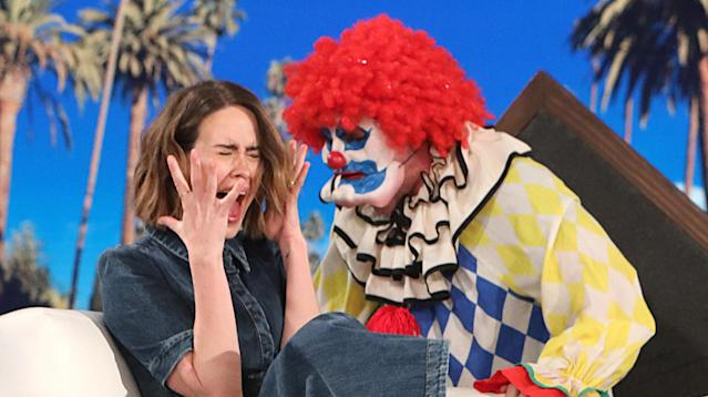 "Sarah Paulson got her own real-life ""American Horror Story"" on ""The Ellen DeGeneres Show"" Tuesday."