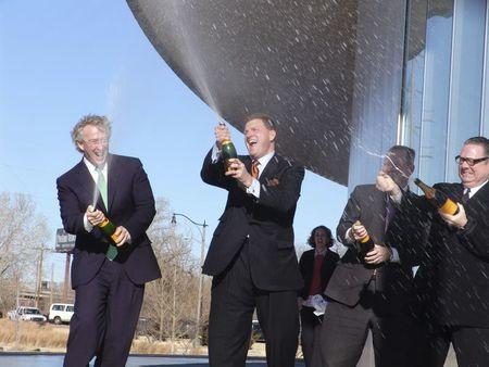 The late Aubrey McClendon (L) is pictured christening a boathouse with (L-R) Clay Bennett, Mayor Mick Cornett and Rand Elliott, in Oklahoma City in 2006.  REUTERS/Oklahoma City Boathouse Foundation