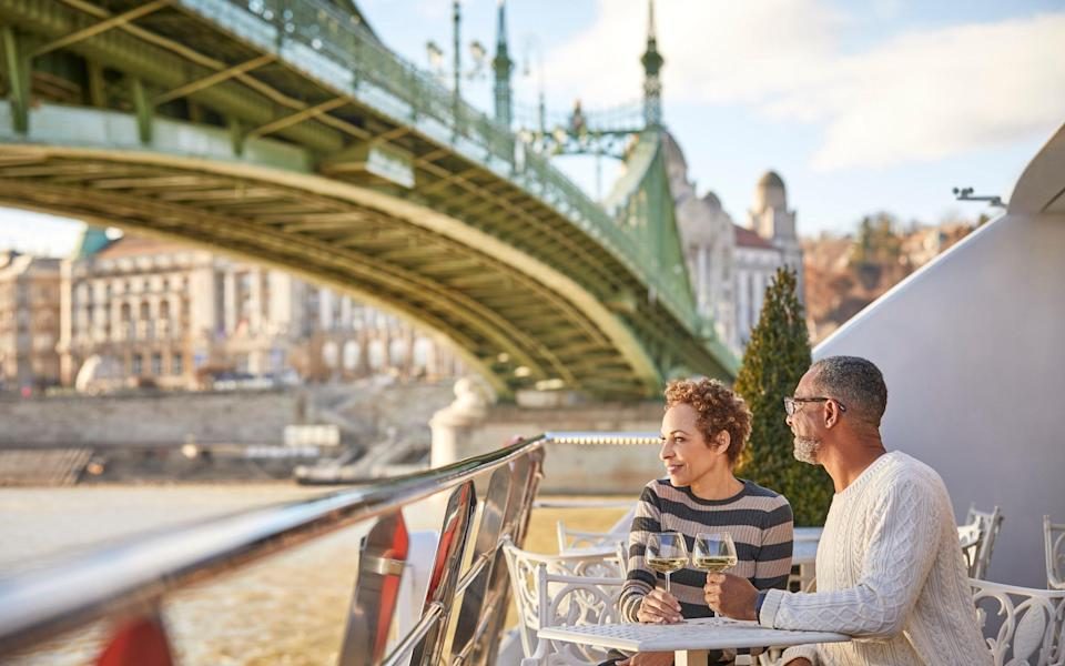 Couple on deck in Budapest - Uniworld