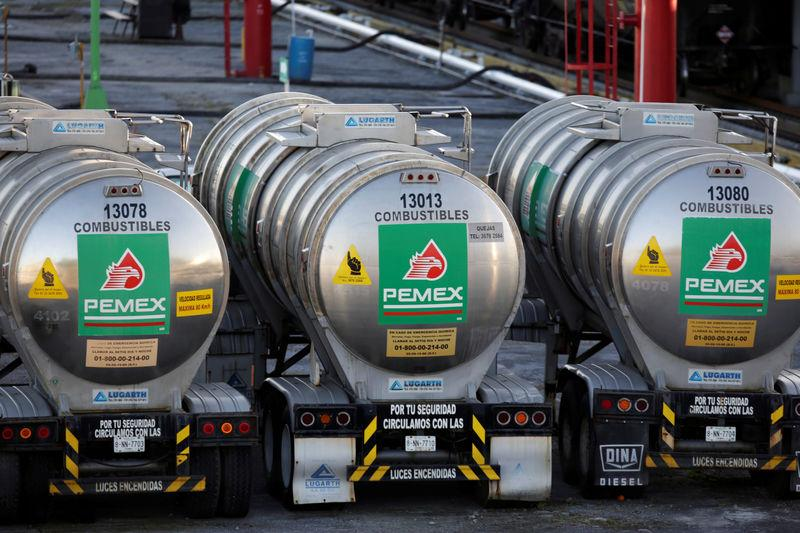 FILE PHOTO: Tanker trucks of Mexico state oil firm Pemex's are seen at Cadereyta refinery in Cadereyta