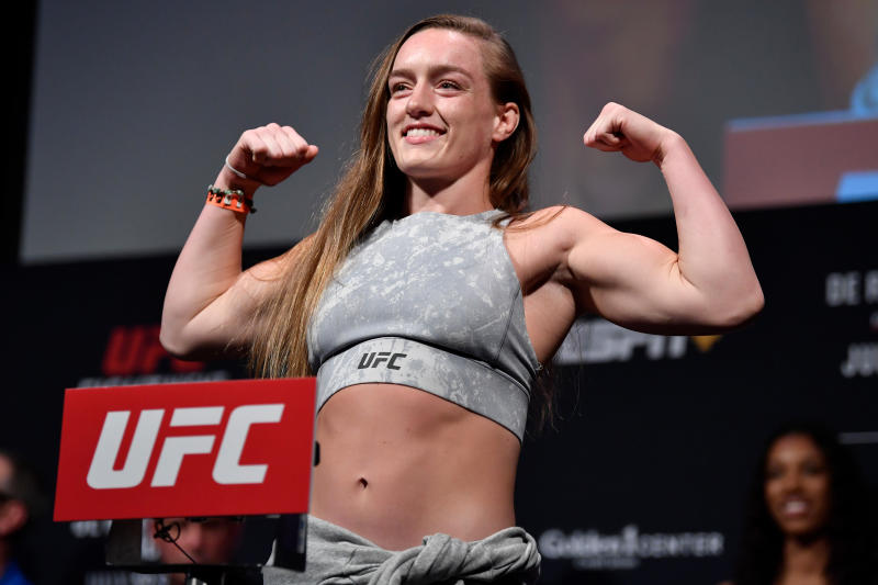 Aspen Ladd saw nutritionists to avoid a drastic weight gain from weigh-in to fighting. (Jeff Bottari/Zuffa LLC/Zuffa LLC via Getty Images)