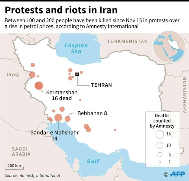 Map of Iran locating places that have been hit by demonstrations (AFP Photo/)