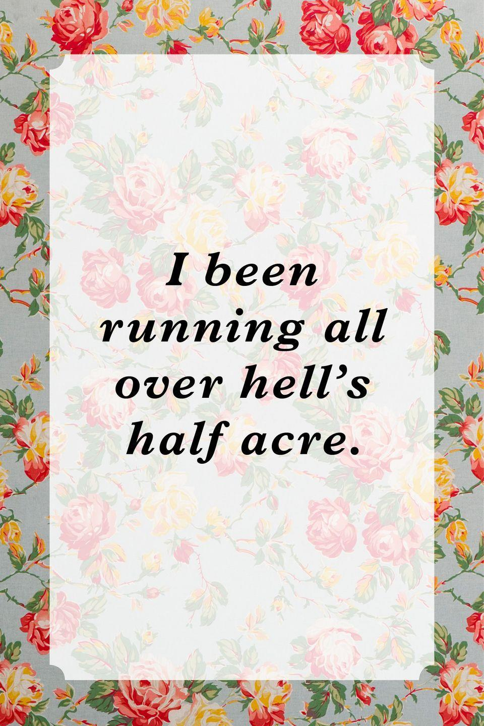 """<p>""""I been running all over hell's half acre.""""</p>"""