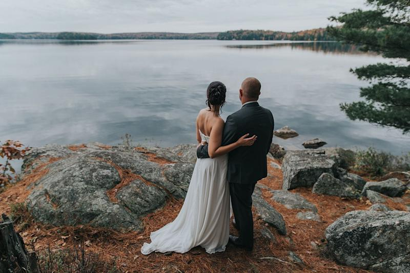"""Jenna and Jack were married on October 14 at the beautiful Port Cunnington Lodge in Muskoka, Canada. On a day that called for rain, we lucked out with the most amazing weather."" -- <i>Samantha Petrushak</i>"