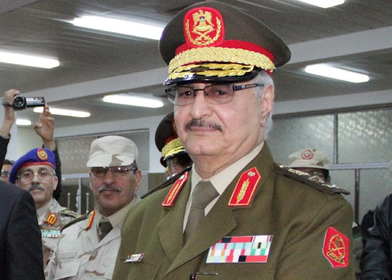 This photo taken on March 9, 2015 in the eastern Libyan city of Tobruk shows Libyan anti-Islamist General Khalifa Haftar attending his swearing in ceremony as the new self-styled Libyan National Army chief