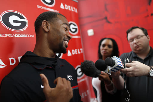 Georgia NCAA college football wide receiver Terry Godwin speaks with the media in Athens, Ga., Tuesday, March 20, 2018, the first day of spring practice. (Joshua L. Jones, Athens Banner-Herald, via AP)