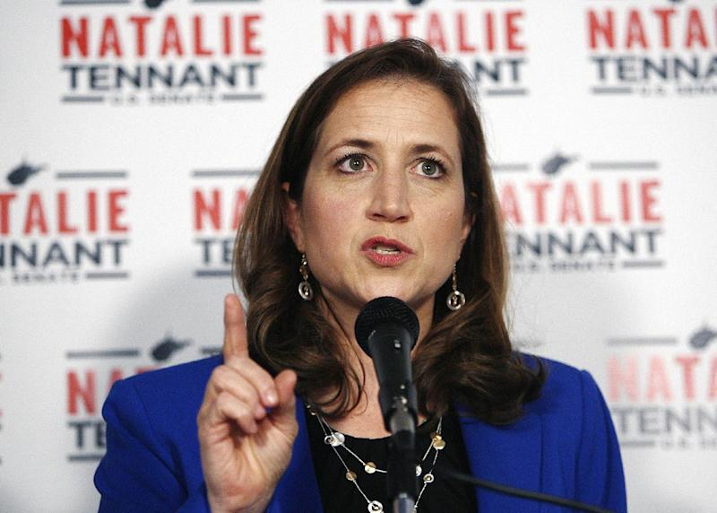 West Virginia Secretary of State Natalie Tennant celebrates Tuesday, May 13, 2014, at her headquarters in Charleston, W.Va. Tennant won the primary election Tuesday and secured the Democratic nomination for the US Senate position soon to be vacated by Sen. John D. Rockefeller IV (D). (AP Photo/Randy Snyder)