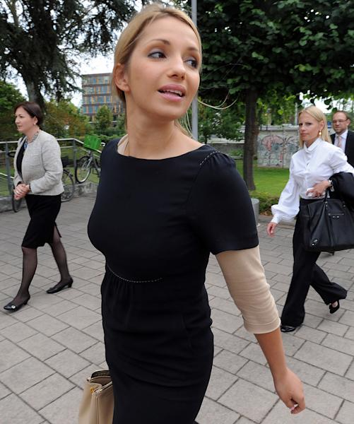 Yulia Tymoshenko's daughter, Eugenia Tymoshenko, arrives at the European Court of Humans Rights in Strasbourg, eastern France, Tuesday, Aug. 28 2012 before the hearing of her mother's case against Ukraine. Lawyers for Yulia Tymoshenko, the Ukrainian opposition leader who has been jailed and convicted of abusing her office, are appealing before the European Court of Human Rights. Tymoshenko was sentenced to seven years in prison in October 2011 over allegations involving a gas contract negotiated while she was prime minister. (AP Photo/Cedric Joubert)