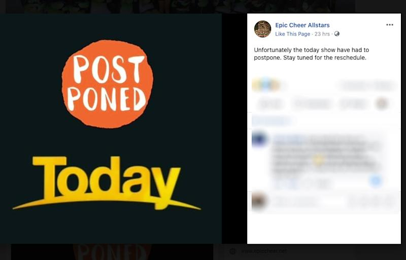 Epic Cheer Allstars Today Show appearance postponed