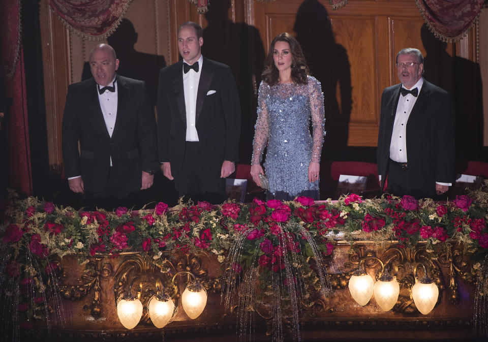 LONDON, UNITED KINGDOM - NOVEMBER 24:  Prince William, Duke of Cambridge and Catherine, Duchess of Cambridge attend the Royal Variety Performance at the Palladium Theatre on November November 24, 2017 in London, England. The Royal Variety Performance takes place every year, either in London or in a theatre around the United Kingdom. The event is in aid of the Royal Variety Charity, formally, The Entertainment Artistes Benevolent Fund, of which The Queen is Patron. The money raised from the show helps hundreds of entertainers throughout the UK, who need help and assistance as a result of old age, ill-health, or hard times. (Photo by of Eddie Mulholland - WPA Pool/Getty Images)