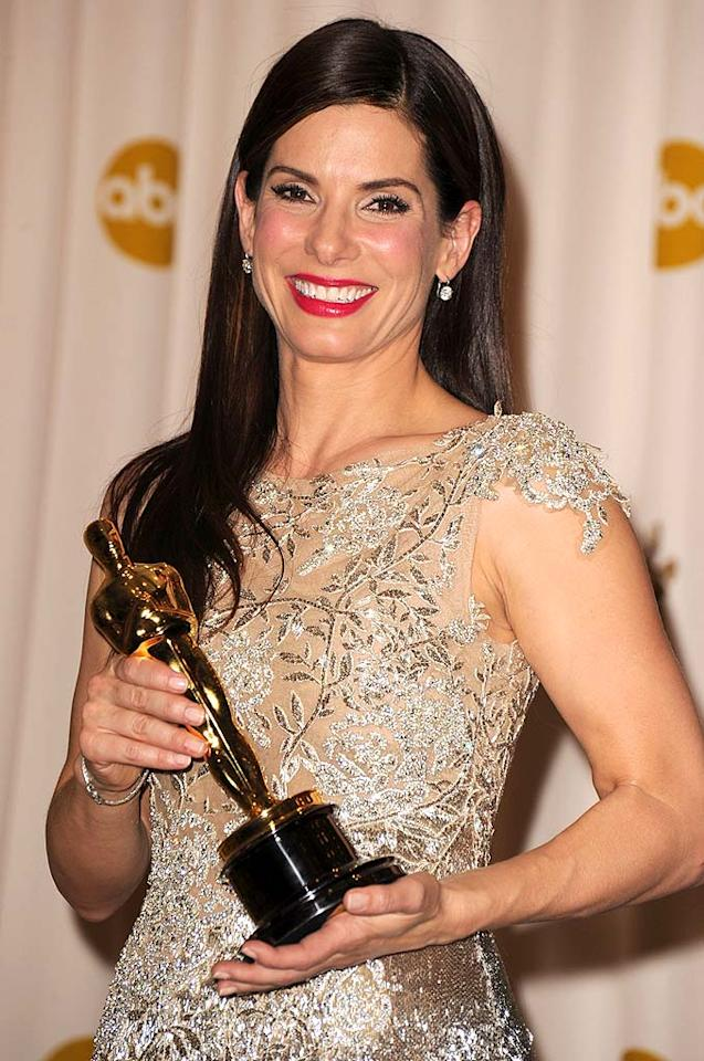 """Sandra Bullock stole the show at the Academy Awards with her Best Actress acceptance speech for """"The Blind Side."""" Funny, moving, and utterly heartfelt, Bullock thanked her co-nominees, her beloved mom who had passed away, and, """"the moms that take care of the babies and the children no matter where they come from. Those moms and parents never get thanked."""" Steve Granitz/<a href=""""http://www.wireimage.com"""" target=""""new"""">WireImage.com</a> - March 7, 2010"""