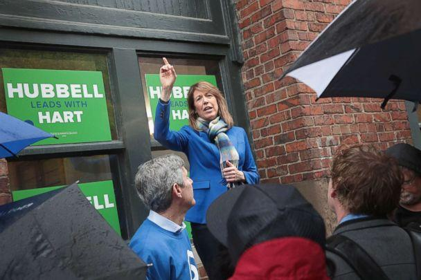 PHOTO: Cindy Axne, democratic candidate for the U.S. House in Iowa's 3rd district, speaks to supporters at a get-out-the-vote rally which she was hosting with Fred Hubbell, Democratic candidate for governor of Iowa, Oct. 8, 2018. in Des Moines, Iowa. (Scott Olson/Getty Images)