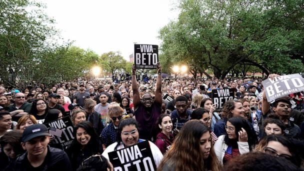 PHOTO: A supporter holds up a sign as he waits for Democratic presidential candidate and former Texas congressman Beto O'Rourke to take the stage for his presidential campaign kickoff rally in Houston, Saturday, March 30, 2019. (AP Photo/David J. Phillip)