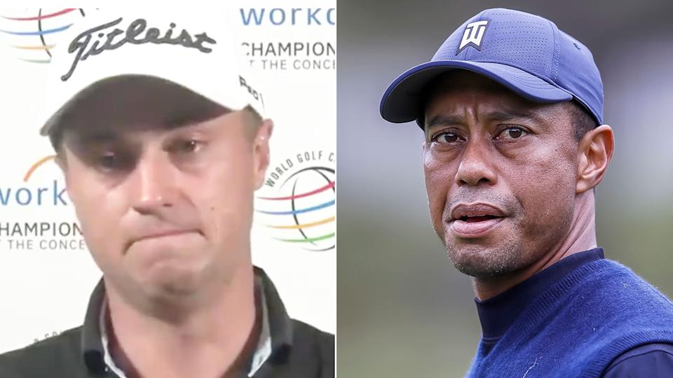 Justin Thomas fought back tears discussing the car crash involving his good friend Tiger Woods. Pic: AAP