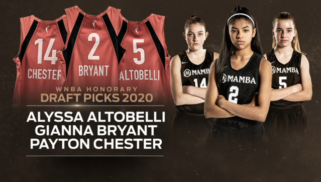 Gianna Bryant, Alyssa Altobelli and Payton Chester were named honorary picks in the WNBA draft on Friday night. (ESPN)