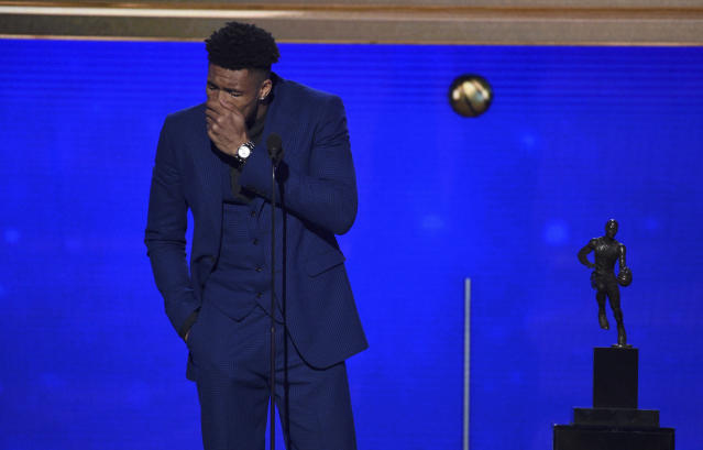 Milwaukee Bucks star Giannis Antetokounmpo fought through tears delivering his MVP speech. (Photo by Richard Shotwell/Invision/AP)