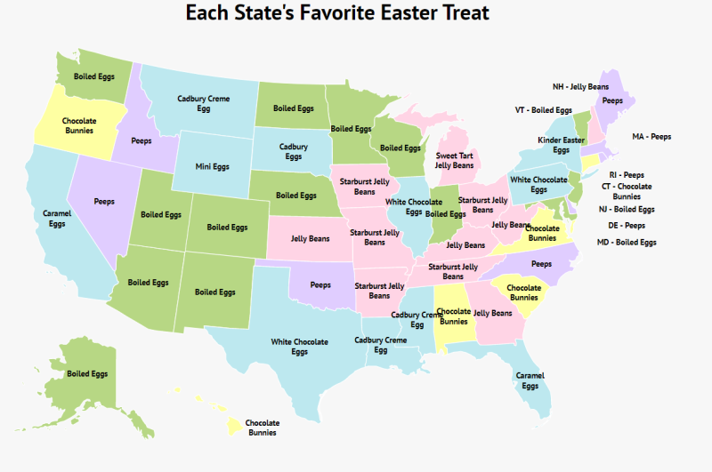 """Map displaying """"Each State's Favorite Easter Treat"""""""