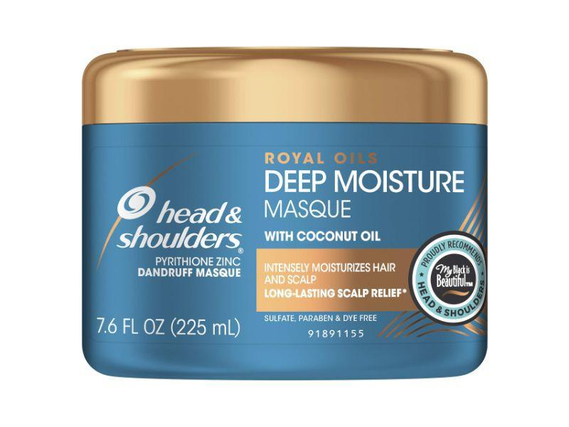 """<p><strong>Head & Shoulders</strong></p><p>amazon.com</p><p><strong>$8.99</strong></p><p><a href=""""http://www.amazon.com/dp/B07F3CJ41T/?tag=syn-yahoo-20&ascsubtag=%5Bartid%7C10051.g.1689%5Bsrc%7Cyahoo-us"""" target=""""_blank"""">Shop Now</a></p><p>Head and Shoulders' Royal Oils Deep Moisture Masque is part of the brand's new collection designed especially for black hair. Built around its core ingredient, coconut oil, the deeply nourishing mask restores moisture from root to end leaving hair happy and healthy. </p>"""