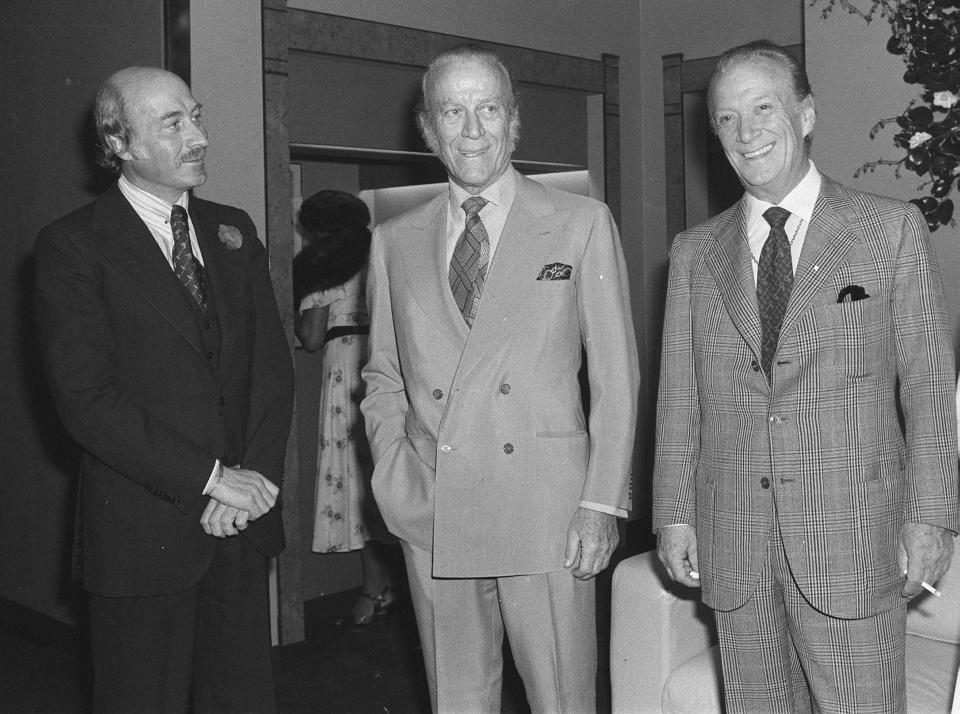 Paolo, Aldo and Rodolfo Gucci attend the opening of the company's Old Bond Street store in London on March 22, 1977. - Credit: ASSOCIATED PRESS
