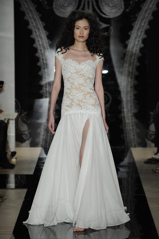 """<div class=""""caption-credit""""> Photo by: MCV Photo / The Knot</div><b>A Thigh-high Slit</b> <br> Move over Angelina. If you want your red-carpet moment while you walk down the aisle, then an outrageously sky-high skirt slit is the way to go. <br>"""