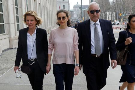 Clare Bronfman, an heiress of the Seagram's liquor empire, arrives at the Brooklyn Federal Courthouse to face charges regarding sex trafficking and racketeering related to the Nxivm cult case in New York