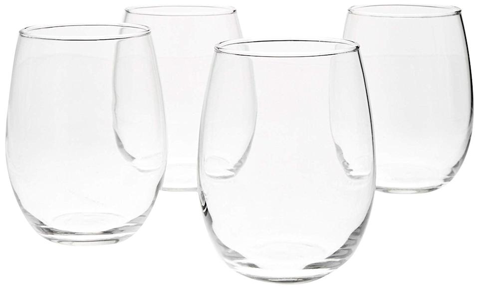 <p>It doesn't get more minimal than these <span>AmazonBasics Stemless Wine Glasses</span> ($17 for 4).</p>