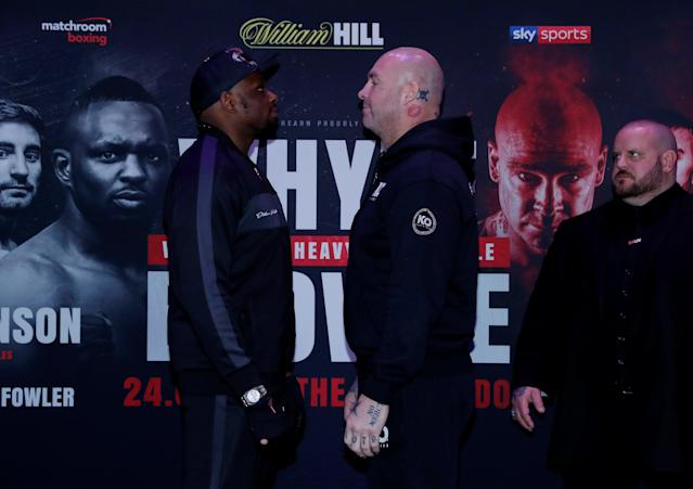 Boxing - Dillian Whyte and Lucas Browne Press Conference - The O2, London, Britain - March 22, 2018 Lucas Browne and Dillian Whyte go head to head during the press conference Action Images via Reuters/Andrew Couldridge