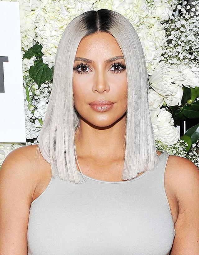 <p>While at a The Tot holiday pop-up celebration in Los Angeles, West showed up with a silvery blunt cut bob hairstyle. (Photo: Donato Sardella/Getty Images for The Tot) </p>