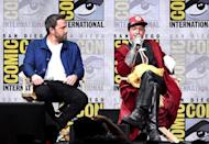<p>Ben Affleck and Ezra Miller at the Warner Bros. Pictures Presentation at Comic-Con on July 22, 2017 in San Diego. (Photo: Kevin Winter/Getty Images) </p>