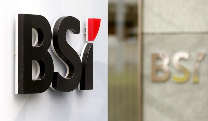 The logo of Swiss private bank BSI is seen at a branch office in Zurich