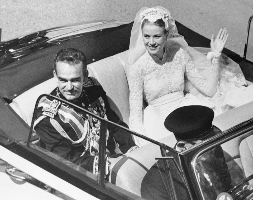 """<p>Grace Kelly <a href=""""https://www.vogue.com/article/weddings-princess-grace-kelly-prince-rainier-monaco-1956"""" rel=""""nofollow noopener"""" target=""""_blank"""" data-ylk=""""slk:married"""" class=""""link rapid-noclick-resp"""">married</a> Prince Rainier III of Monaco in a widely publicized two-day event that took place on April 18 aboard the SS Constitution, with a civil ceremony taking place the day after. The royal couple had three children and remained married until Kelly's death in 1982. </p>"""