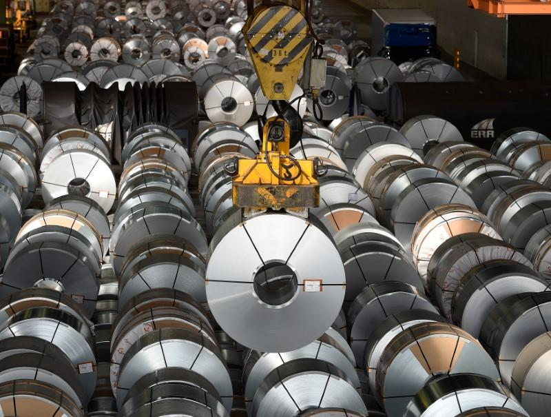 Steel rolls are pictured at the plant of German steel company Salzgitter AG in Salzgitter