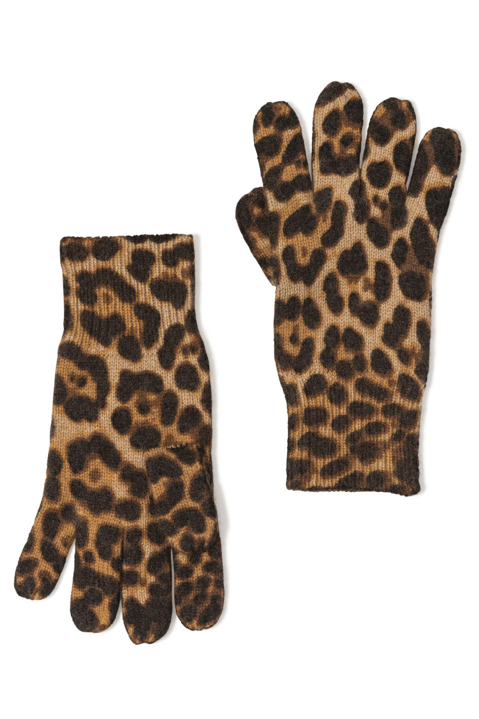 This image shows a pair of cashmere animal print gloves from Amicale. (Amicale via AP)