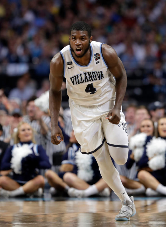 Villanova forward Eric Paschall reacts after making a basket during the second half against Michigan in the championship game of the Final Four NCAA college basketball tournament, Monday, April 2, 2018, in San Antonio. (AP Photo/Eric Gay)